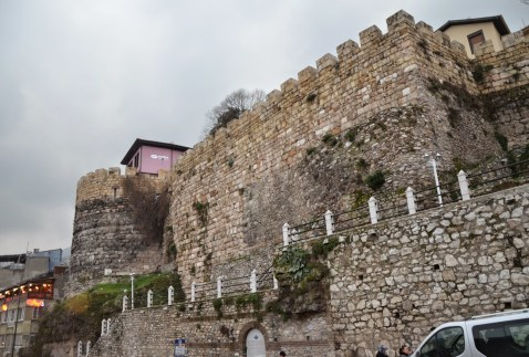 Old city walls at Tophane, Bursa, Turkey