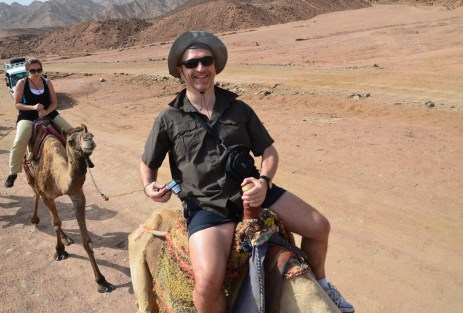Martin on a camel at Abu Galom in Sinai, Egypt