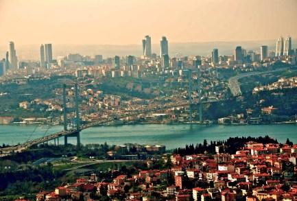 View from Büyük Çamlıca Tepesi in Istanbul, Turkey