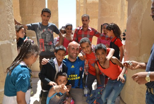 Me with Egyptian students at the Temple of Hatshepsut in Luxor, Egypt