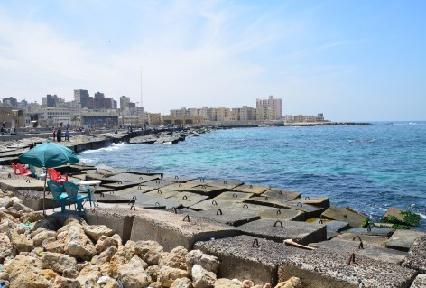 Alexandria meets the Mediterranean Sea in Alexandria, Egypt