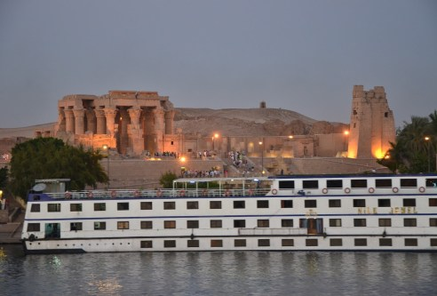 Approaching Kom Ombo on the Nile in Egypt