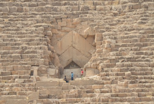 Entrance to the Pyramid of Khufu at the Pyramids of Giza in Egypt