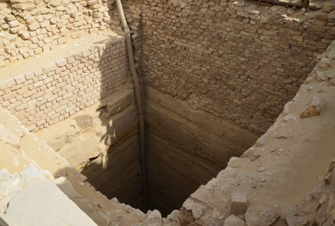 A pit where a statue was found at the Step Pyramid of Djoser at Saqqara, Egypt