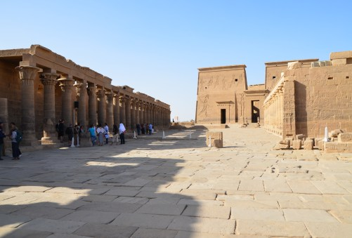 Temple of Isis and the colonnaded courtyard at Philae Temple on Agilkia Island in Egypt