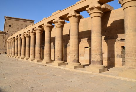 Eastern colonnade at Philae Temple on Agilkia Island in Egypt