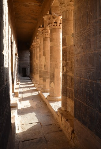 Western colonnade at Philae Temple on Agilkia Island in Egypt