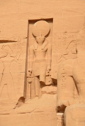 Statue of Ra-Harakhty at the Temple of Ramses II at Abu Simbel, Egypt