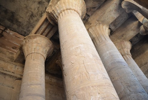 Columns at the Temple of Edfu, Egypt