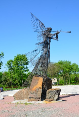 Trumpeting angel at the Wormwood Star Memorial in Chernobyl, Chernobyl Exclusion Zone, Ukraine