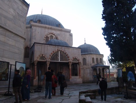 Tomb of Murat III (left) and Tomb of Princes (right) at Hagia Sophia in Istanbul, Turkey
