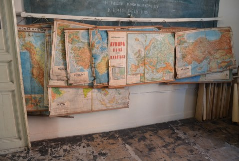 Old maps at Ioakimion School for Girls in Fener, Istanbul, Turkey