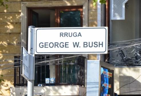 George W. Bush Street in Tiranë, Albania