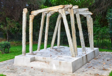 Postblloku Memorial – supports from the mine of Spaç in Tiranë, Albania