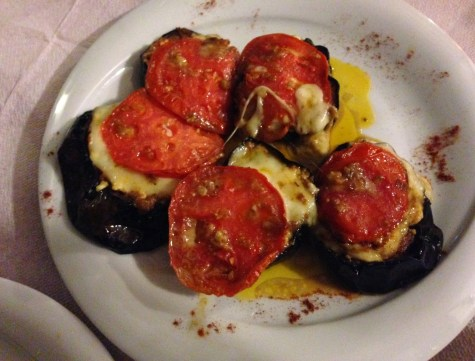 Baked eggplants with cheese and tomato at Bahari in Karfas, Chios, Greece