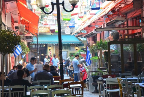 One of the many lively backstreets in Thessaloniki, Greece