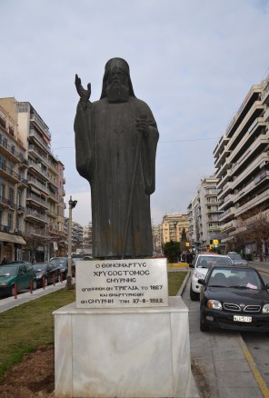 Statue of Chrysostomos of Smyrna in Thessaloniki, Greece