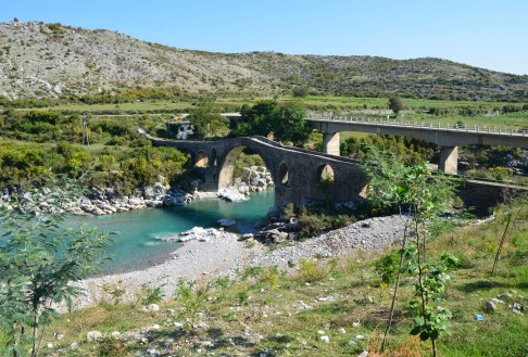 Mes Bridge and the modern bridge in Mes, Albania