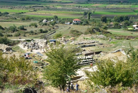 German archaeologists excavating the theatre in Apollonia, Albania