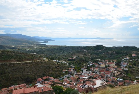 View from Volissos Castle in Volissos, Chios, Greece