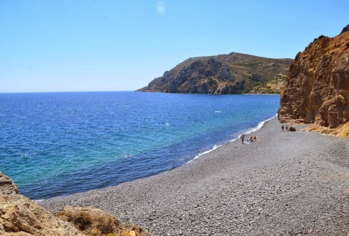 Mavra Volia beach in Chios, Greece