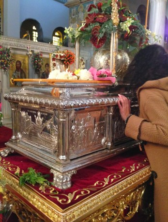 Relics of St. Dimitrios at the Church of St. Dimitrios in Thessaloniki, Greece