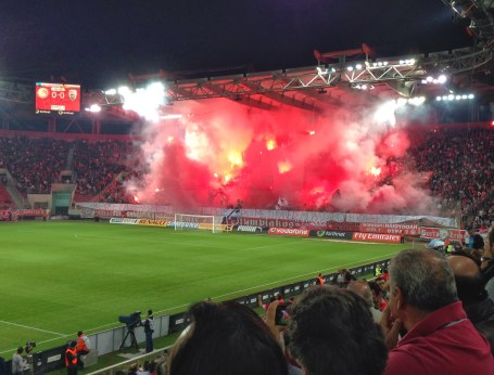Gate 7 fanatics at Olympiakos vs PAOK at Karaiskaki Stadium, Piraeus, Greece