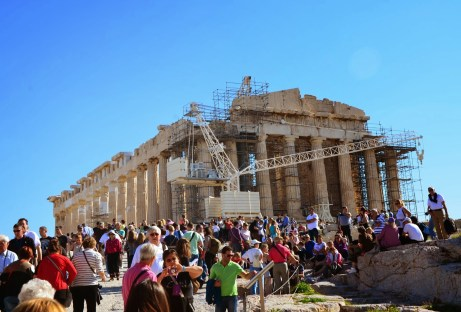 First glimpse of the Parthenon at the Acropolis, Athens, Greece