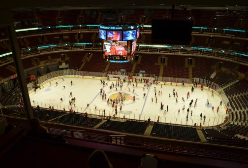The view from the press box at the United Center, Chicago, Illinois