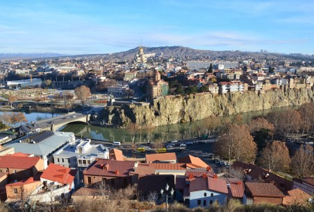 The view from Narikala Fortress in Tbilisi, Georgia