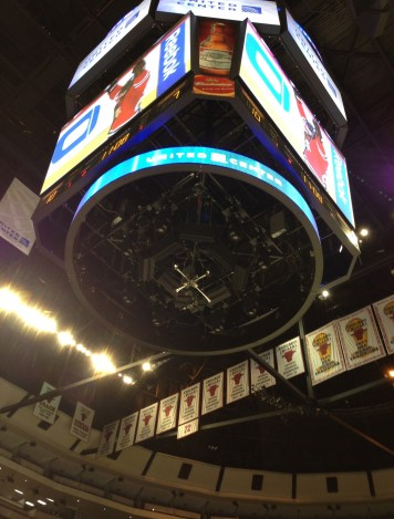 Ever wonder what it's like to stand under the scoreboard? at the United Center, Chicago, Illinois