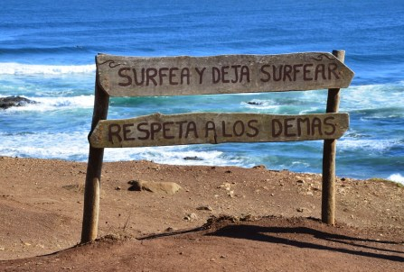 """Surf and let surf"" at Punta de Lobos, Pichilemu, Chile"