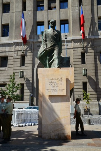 Salvador Allende statue at Plaza de la Constitución in Santiago de Chile
