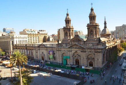 View from the bell tower at Palacio de la Real Audiencia on Plaza de Armas in Santiago de Chile