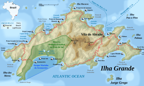 Map of Ilha Grande beaches, Brazil