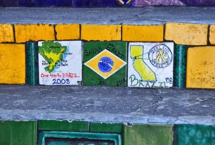 2008 trip to Brazil tiles at Escadaria Selarón in Rio de Janeiro, Brazil