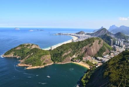The view of Copacabana from Pão de Açúcar in Rio de Janeiro, Brazil