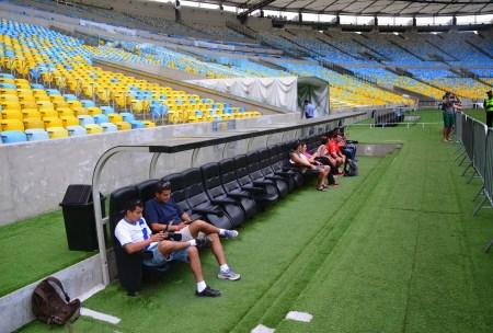Visitors' bench at Estádio do Maracanã in Rio de Janeiro, Brazil