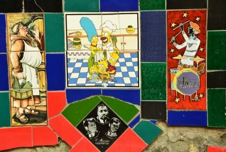 The Simpsons tile at Escadaria Selarón in Rio de Janeiro, Brazil