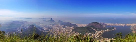 The view from Cristo Redentor at Corcovado in the Tijuca Forest National Park, Rio de Janeiro, Brazil