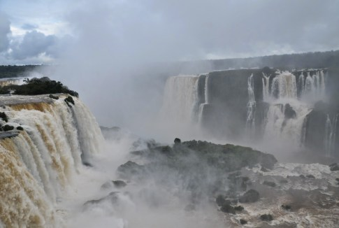 The falls from the lookout at Parque Nacional do Iguaçu in Brazil