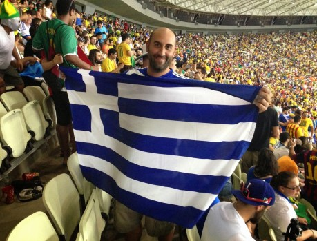 Me at the Greece vs Côte d'Ivoire game in the 2014 World Cup at Arena Castelão in Fortaleza, Brazil