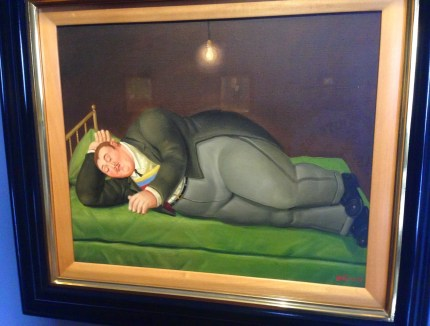 A political painting by Botero at Museo de Botero in La Candelaria, Bogotá, Colombia