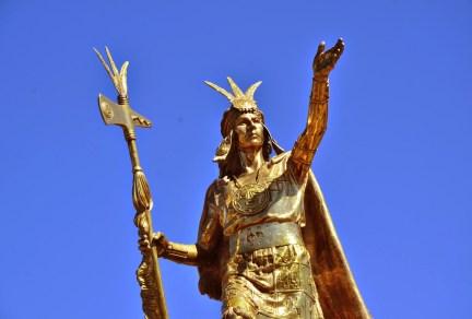 Inca statue in Plaza de Armas in Cusco, Peru