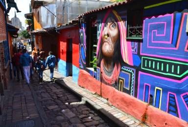 An alley off Chorro de Quevedo in La Candelaria, Bogotá, Colombia