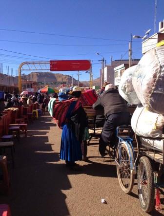 On my way to cross the bridge at Desaguadero, Peru & Bolivia