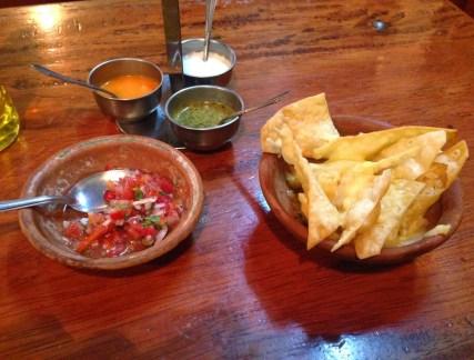 Chips and salsa at El Cuate in Cusco, Peru