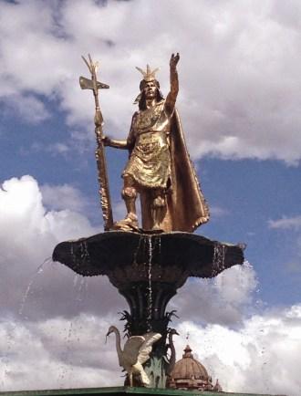 Fountain in the center of Plaza de Armas, Cusco, Peru