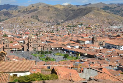 View from Iglesia de San Cristóbal bell tower in Cusco, Peru