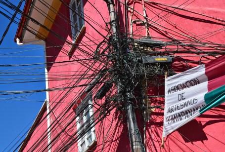 Power lines at Calle Sagarnaga in La Paz, Bolivia